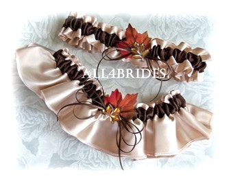 Wedding garter set, fall leaves bridal garters, champagne and chocolate brown Autumn weddings bridal accessories