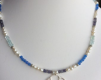 Necklace — Iolite, Aquamarine and Blue Agate with Sterling Circle and Freshwater Pearls
