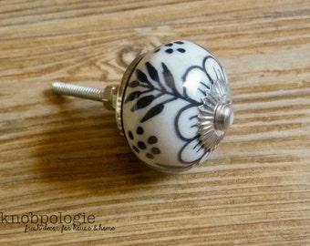 "1.5"" White and Black Floral Ceramic Knob - Flower Drawer Pull - Decorative Knob Cabinet Kitchen Decor - Cream and Black"