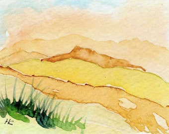 Original Watercolor ACEO Art Card, Wilderness, Mountains, Country, Peaceful, Warm, Miniature OOAK Painting