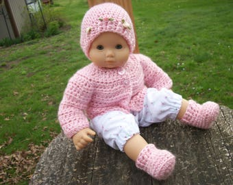 """15"""" Doll Sweater, Hat & Shoes, baby doll clothes, doll shoes, doll hat, handmade for 15"""" bitty baby type doll"""