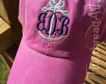 LADIES or Adult Size Anchor Monogram with Rope Bow Baseball Cap Hat Leather Strap Nautical Beach Cruise Ship Boat Coast Vacation Girls Trip