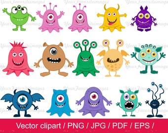Little Monster  Clipart / Monsters Clip Art / Monsters vector  / instant download / for personal and commercial use / AI