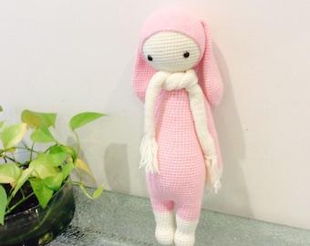 Crochet Bunny Doll, Pink Crochet Doll, Bunny Rabbit Lalylala (16-inch), Rabbit Lalylala, Amigurumi Bunny Doll, Birthday Gift for Girl