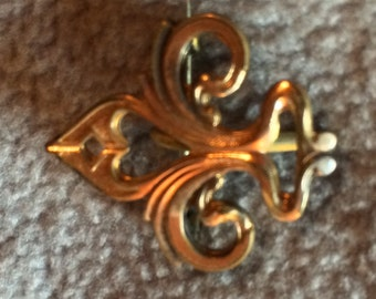 Vintage Gold Tone Fleur de Lis Watch Pin Brooch