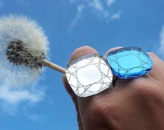 Gemstone ring - laser cut mirror acrylic