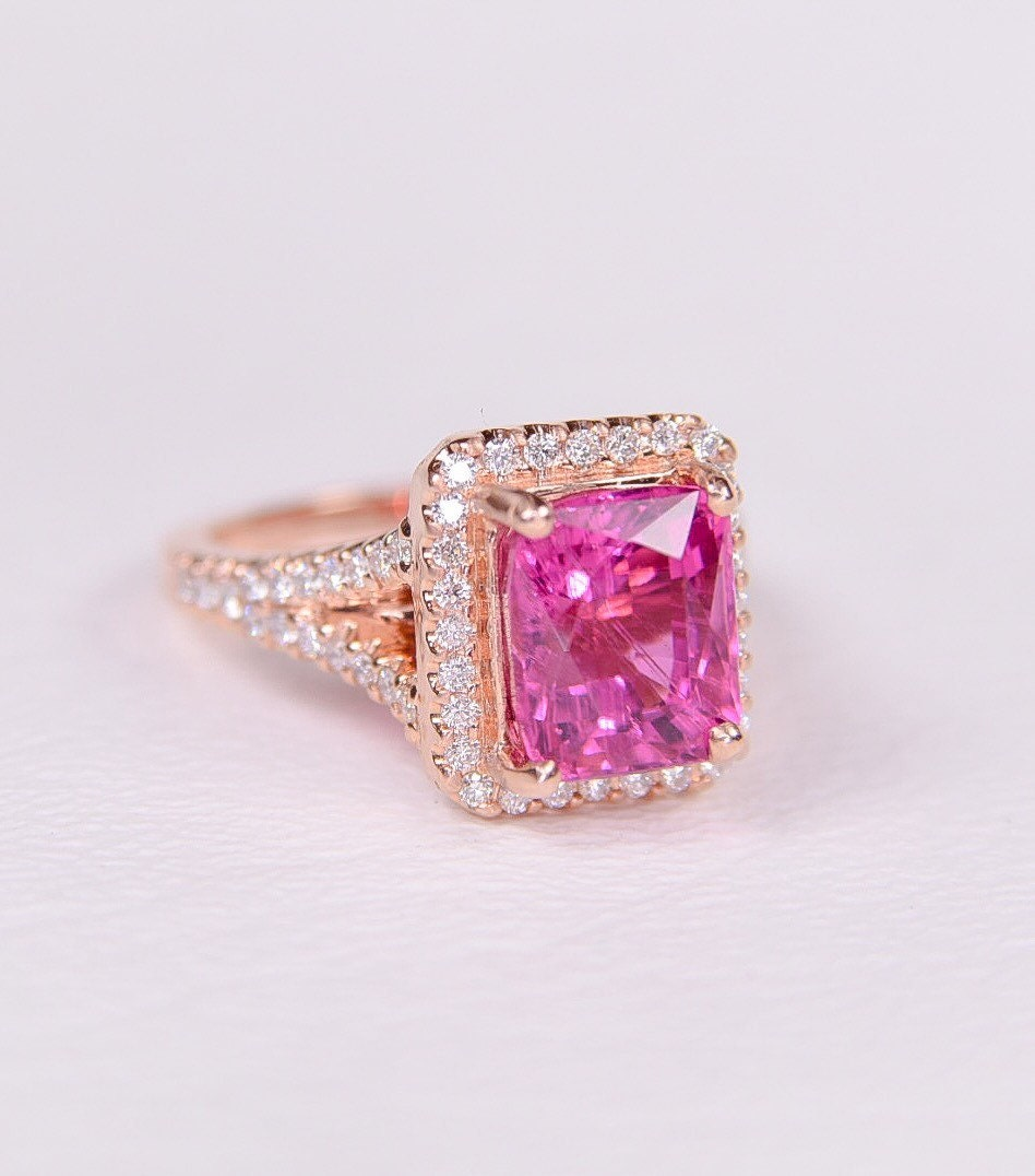 14K Rose gold rare hot bubblegum pink Tourmaline ring