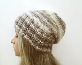 Brown Cream Slouchy Beanie, Women Slouch Beanie, Hand Knit Hat, Acrylic Beanie Hat, Lightweight Spring Slouchy Hat, ClickClackKnits