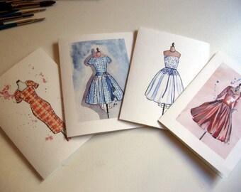 Vintage Dress Note Cards (Ed. 1), Watercolor Art Notecards, Set of 4