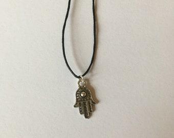 Handmade Hamsa Hand Tibetan Silver Necklace Choker