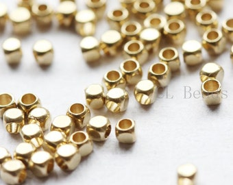 400 Pieces Raw Brass Spacers - Faceted Round 2mm (494C-S-222)