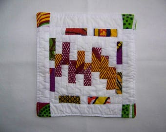 Quilted Coaster Mug Rug or Mini Quilt Scrappy Geometric Bars