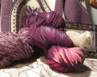Melt in Maroon, Purple and Pink Wool Yarn, by Heritage
