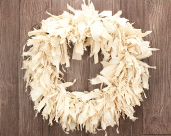 Rustic Cream Rag Wreath - Vintage Style Fabric Wreath | Simple Country Decor for Spring | Front Door / Indoor Wreath
