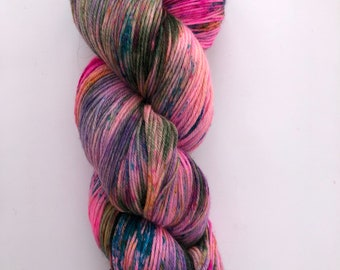 A fun, bright and colourful hand dyed 4ply yarn on a superwash Merino, cashmere and nylon base.