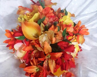 Price Reduced! Tropical Brides Bouquet in red, yellow, orange calla lillies, tiger lillies, hibiscus orchids