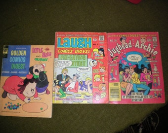Three Comic Digests Featuring Jug Head, Archie, and Little Lulu