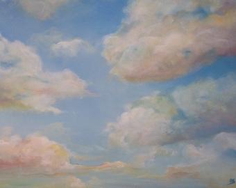 Custom Cloud painting. Painting of clouds. Acrylic original landscape painting. Cloud art. Trending art. Nursery art. living room art.
