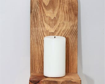Reclaimed Rustic Wood Candle Holders (Pair). Wall Candle Holder Wall Sconces