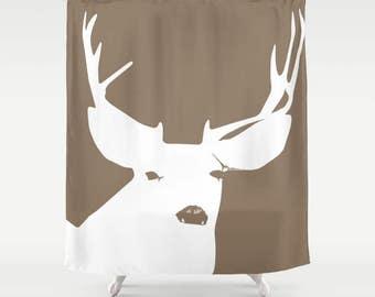 45 colors Deer Bathroom, Deer Shower Curtain, Antlers Shower Curtain, brown woodland shower curtain, rustic woodland animal bathroom