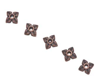 30 Tibetan Style Flower Bead Caps in Antique Bronze - 6mm