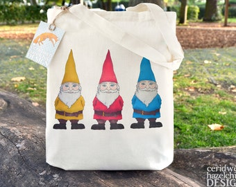 Garden Gnomes Tote Bag, Ethically Produced Reusable Shopper Bag, Cotton Tote, Shopping Bag, Eco Tote Bag, Stocking Filler