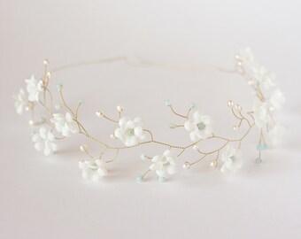 51 Hair accessories, White flower crown, Gold crown, Floral crown, Amazonite headband, Pearl headpiece, Mint headpiece, Tender hair piece