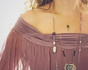 Long Amethyst Statement Necklace - Unique Statement Necklace - Amethyst Pendant - February Birthstone - Boho Luxe Jewelry