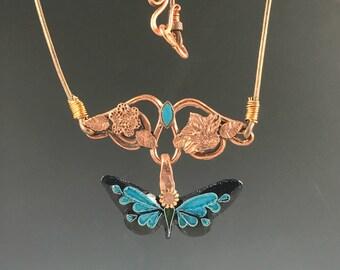 Cloisonne Butterfly on Copper Vine