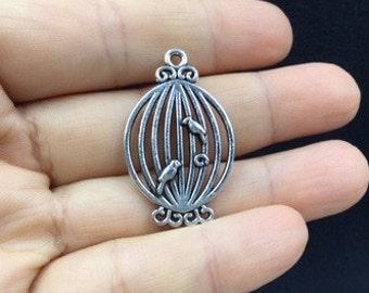 4pcs Elegant Oval Birdcage 2 birds Tibetan Silver Charm