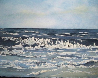 Original Seascape Watercolor Painting  FREE SHIPPING