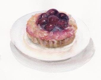 FREE SHIPPING / Original watercolor / Сherry tartlet / Fruit tart / Berry / Food art / Dessert painting / Sweets / Pastry art / Wall decor