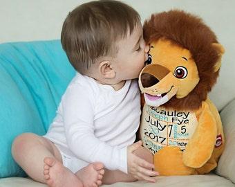 Birthday Announcement Stuffed Animal - Lion Embroidered Stuffed Animal - Baby Gift - Birth Gift for Newborn - Baby Photo Prop - Baby Announc