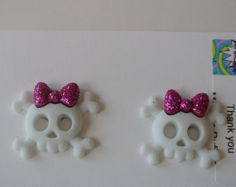 White and Pink Skull Post Earring