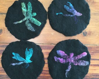 Set of Four Felted Dragonfly Coasters in Wool and Silk