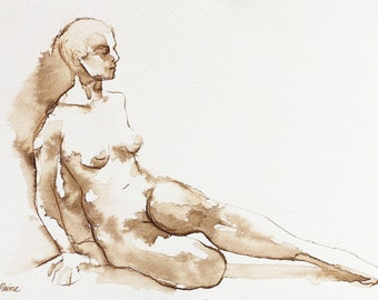 Original Female Nude Figure Drawing, Bedroom Wall Art, Line Drawing, Ink Wash on Paper, Sepia Toned Art