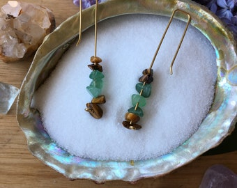 Brass Dangle Earrings with Tiger's Eye and Adventurine