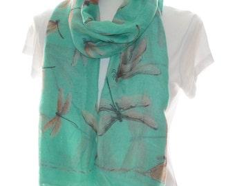 Mint dragonfly Scarf shawl, Beach Wrap, Cowl Scarf, mint dragonfly print scarf, cotton scarf, gifts for her