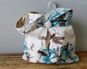 Dragonfly Robins Egg Blue Bag Large Reversible Hobo Bag - - Tea Stained Dragonflies and Black Birds