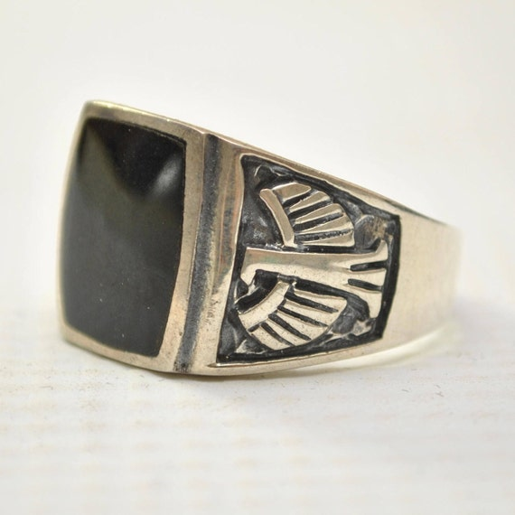 Onyx Curved Square Phoenix Bird in Sterling Silver Ring Sz 10 #8741