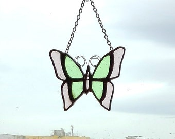 Stained Glass Butterfly 1 green and violet suncatcher, garden decoration, gift for her, mother's day gift, window decor