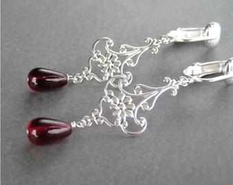 Red Teardrop Clip On Earrings, Silver Ear Clips, Burgundy Glass Drop, Silver Flower, Handmade, Maryanne