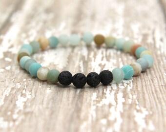 Essential Oil Bracelet, diffuser jewelry, aromatherapy, amazonite gemstone bracelet, mala bracelet, gift for her, zen, yoga bracelet