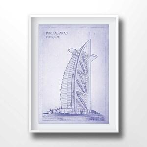 Blueprint art etsy au burj el arab blueprints burj el arab poster blueprint art old malvernweather Image collections