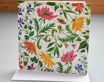 Summer Garden Card - garden card, flower card, flora and fauna card, flowers birthday card, blank inside card, flower art card, flower print