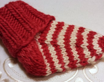 Christmas Wool Baby Socks - Hand-Knitted Larger Baby Slipper Socks - Non-scratchy Merino Wool Knitted Cuffed Socks - Handmade Striped Socks