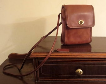 Etsy BDay Sale Coach Scooter Bag In British Tan Leather With 50 Inch Cross Body Strap- Made In U.S.A.