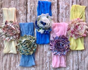 MANY COLORS--  Nylon baby Headband: Floral Chiffon Flowers on a matching soft nylon headband Newborn, Infant, Toddler, Girls