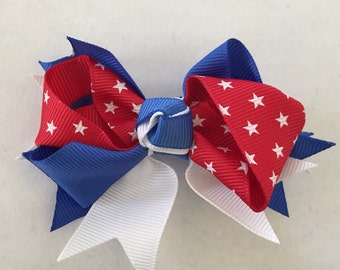 """Red, Blue, and White with Stars Hair Bow on Hair Clip 3 1/2"""""""