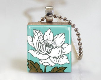 Turquiose & Brown Floral Flowers - Scrabble Tile Pendant - Free Ball Chain Necklace or Key Ring